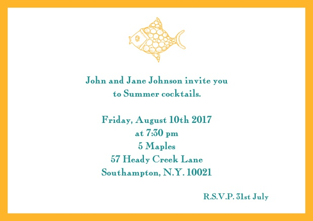 Online Summer invitation card with fish and matching colorful frame. Yellow.