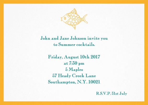 Summer invitation card with fish and matching colorful frame. Yellow.