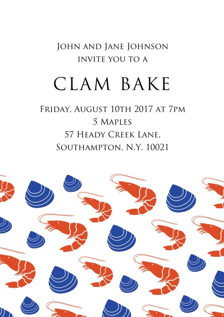 Perfect clam bake Online invitation card with lobsters and clams