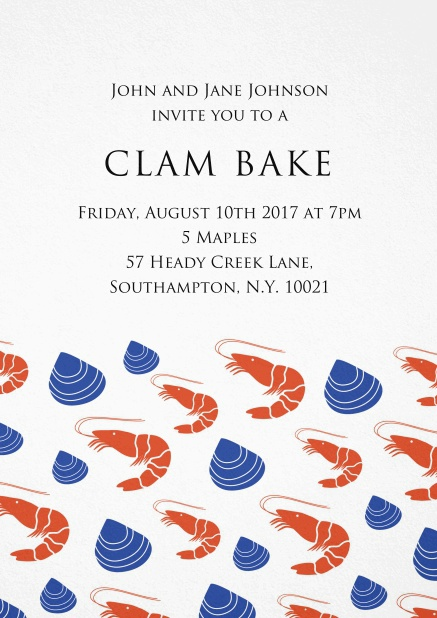 Perfect clam bake invitation card with lobsters and clams