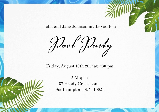 Pretty invitation card with pool water frame and tropical plants