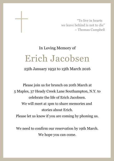 Online Classic Memorial invitation card with black frame and Cross top left. Beige.