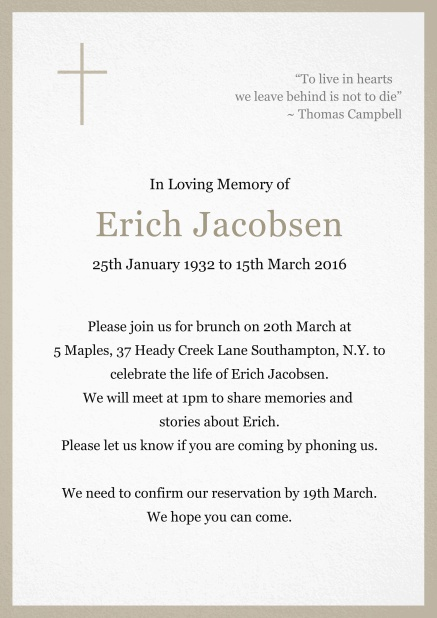 Classic Memorial invitation card with black frame and Cross top left. Beige.