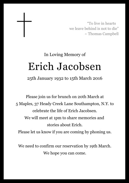 Online Classic Memorial invitation card with black frame and Cross top left. Black.
