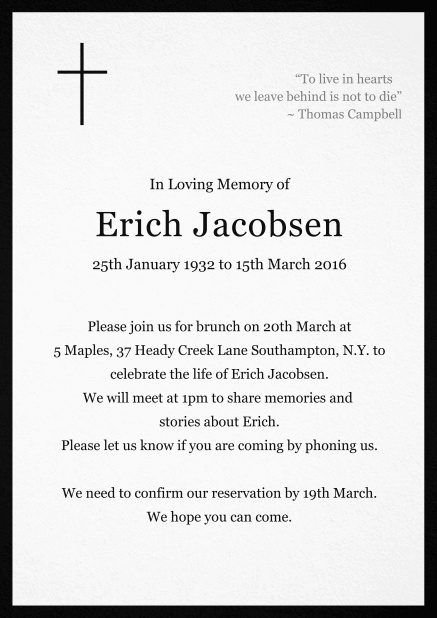 Classic Memorial invitation card with black frame and Cross top left. Black.