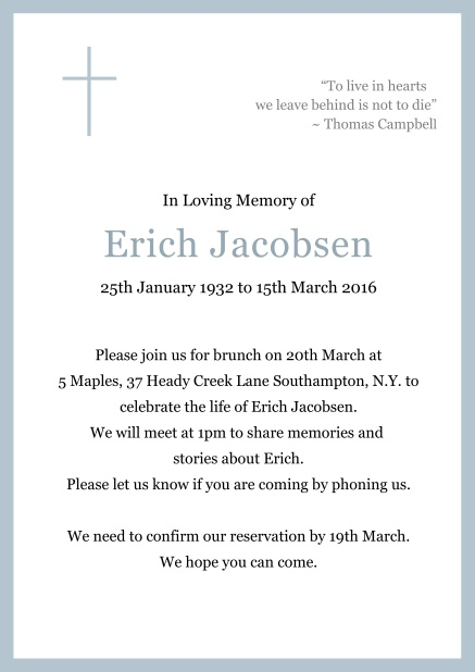 Online Classic Memorial invitation card with black frame and Cross top left. Blue.