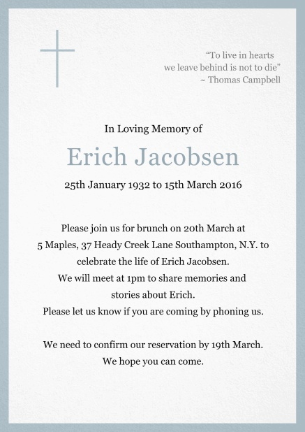 Classic Memorial invitation card with black frame and Cross top left. Blue.