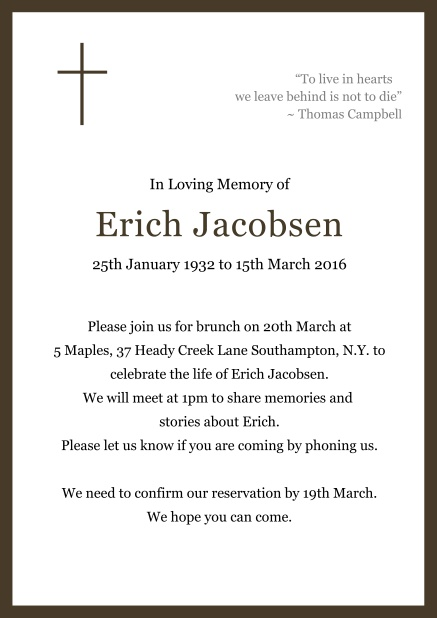Online Classic Memorial invitation card with black frame and Cross top left. Brown.
