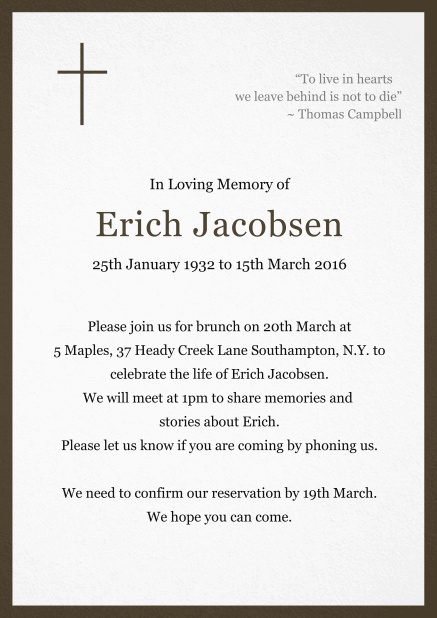 Classic Memorial invitation card with black frame and Cross top left. Brown.