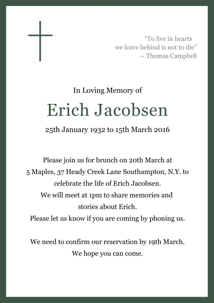 Online Classic Memorial invitation card with black frame and Cross top left. Green.