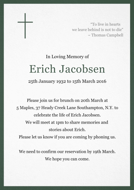 Classic Memorial invitation card with black frame and Cross top left. Green.