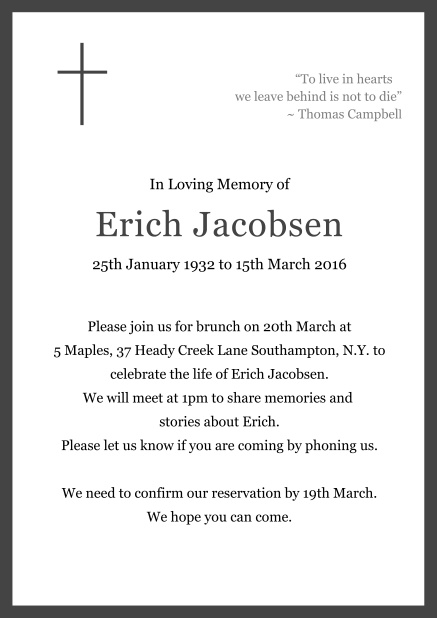 Online Classic Memorial invitation card with black frame and Cross top left. Grey.