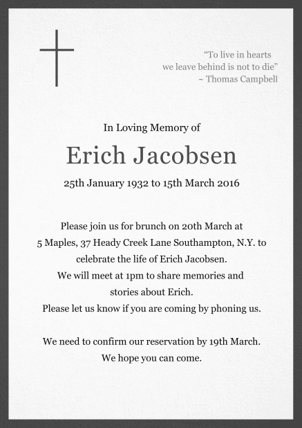 Classic Memorial invitation card with black frame and Cross top left. Grey.
