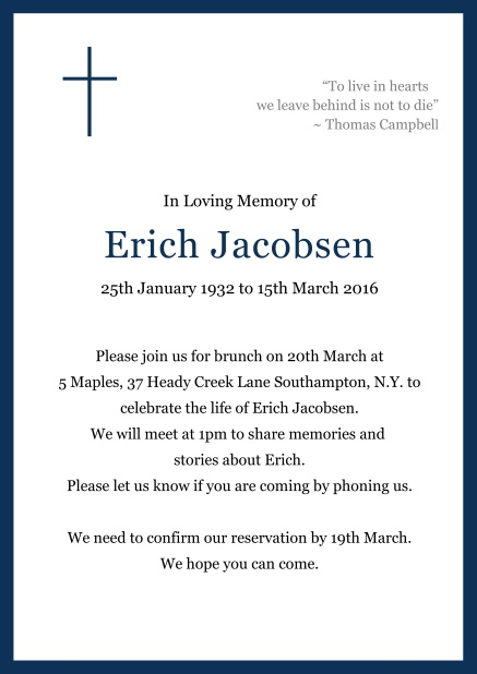 Online Classic Memorial invitation card with black frame and Cross top left. Navy.