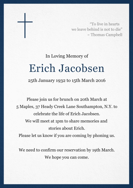 Classic Memorial invitation card with black frame and Cross top left. Navy.