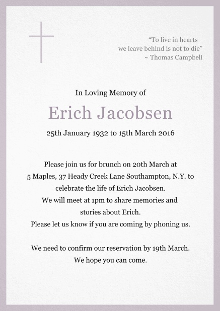 Classic Memorial invitation card with black frame and Cross top left. Purple.