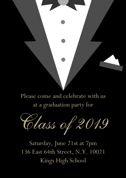 Class of 2019 graduation online invitation card with Black Tie card design. Black.