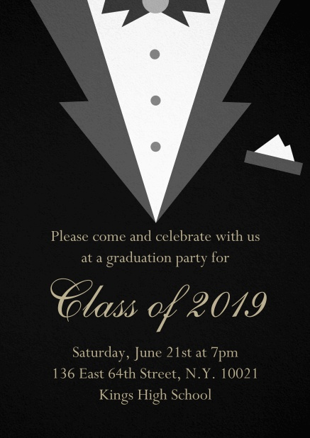 Class of 2019 graduation invitation card with Black Tie card design. Black.