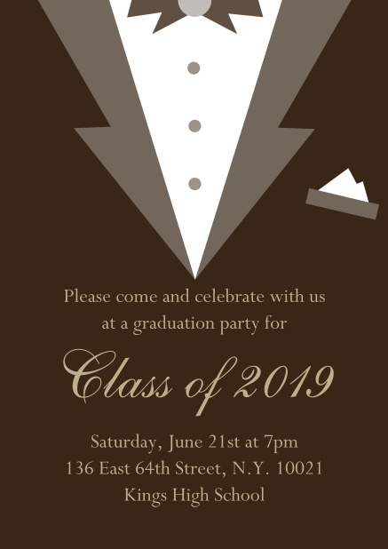 Class of 2019 graduation online invitation card with Black Tie card design. Brown.