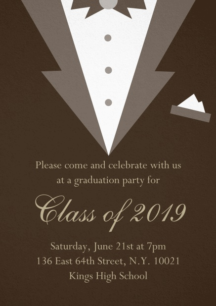 Class of 2019 graduation invitation card with Black Tie card design. Brown.