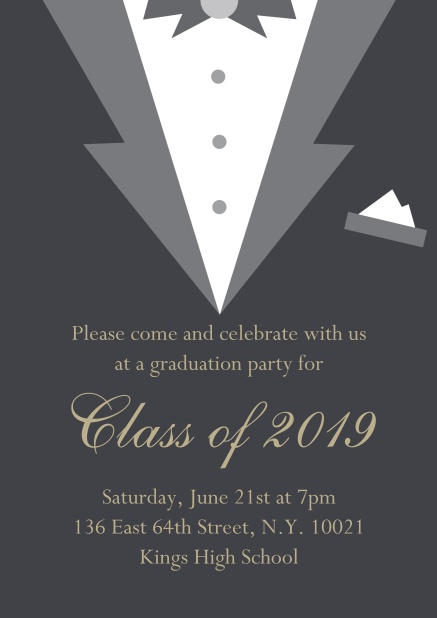 Class of 2019 graduation online invitation card with Black Tie card design. Grey.