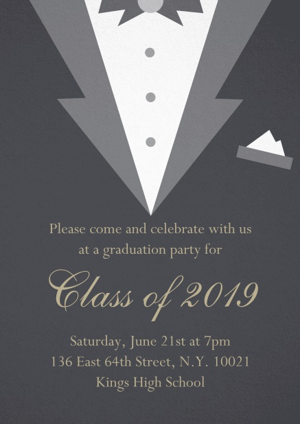 Class of 2019 graduation invitation card with Black Tie card design. Grey.