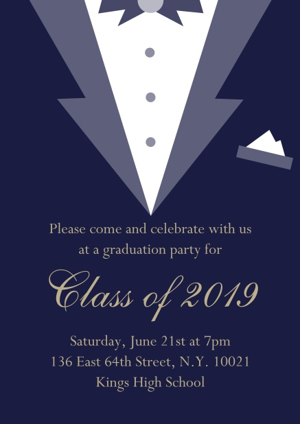 Class of 2019 graduation online invitation card with Black Tie card design. Navy.