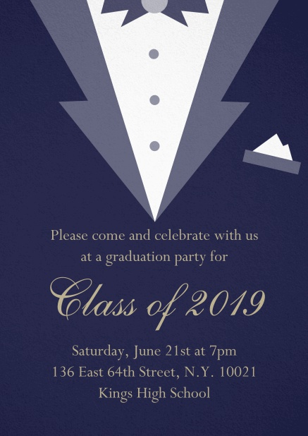Class of 2019 graduation invitation card with Black Tie card design. Navy.