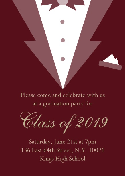 Class of 2019 graduation online invitation card with Black Tie card design. Red.