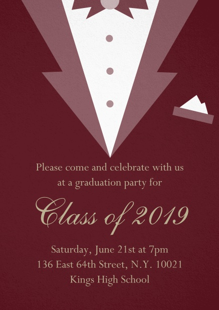 Class of 2019 graduation invitation card with Black Tie card design. Red.