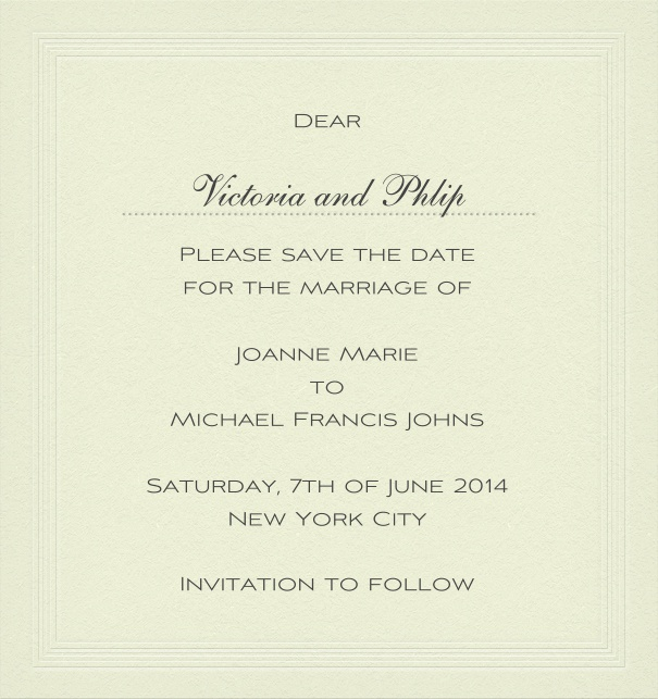 Classic wedding save the date card in high format with personal addressing or recipient.