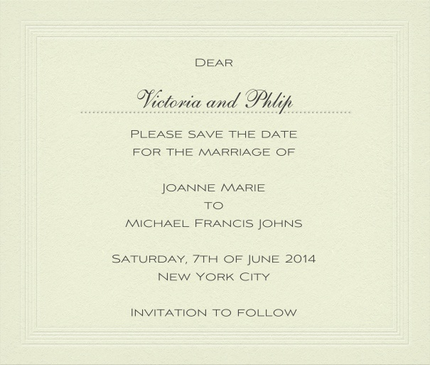 Classic wedding save the date card with personal addressing or recipient.