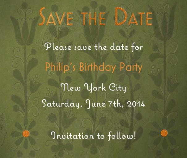 Green Spring Themed Seasonal Wedding Save the Date Card with Flower Background.