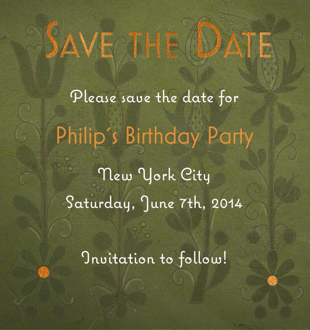 High Green Spring Themed Seasonal Wedding Save the Date Card with Flower Background.