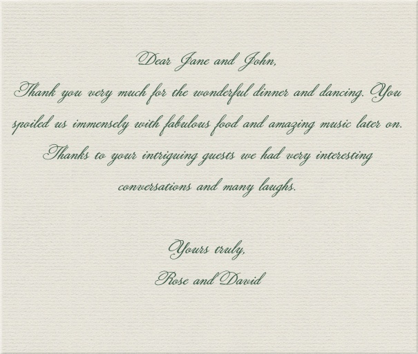 Online classic correspondence card on light grey paper.