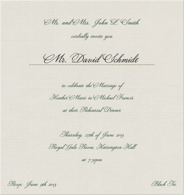 Formal paper designed Invitation Card.