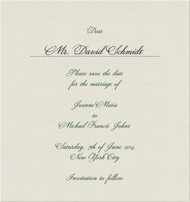 Beige Classic Wedding Save the Date Card in high format with name of recipients.