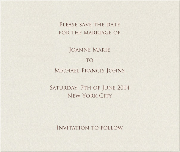 Beige Formal Wedding Save the Date Card.