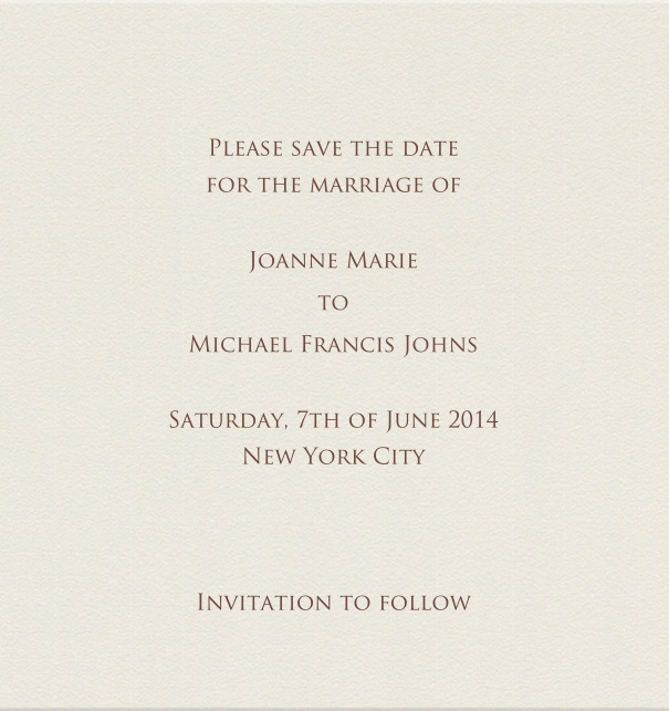 Beige Formal Wedding Save the Date high format Card.