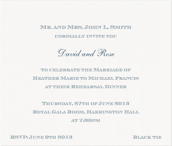 White, classic Wedding Invitation Card with blue letters.