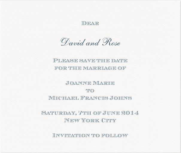 White formal Party Save the Date Card with Blue Text.