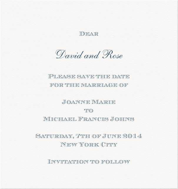 White formal Party Save the Date high format Card with Blue Text.