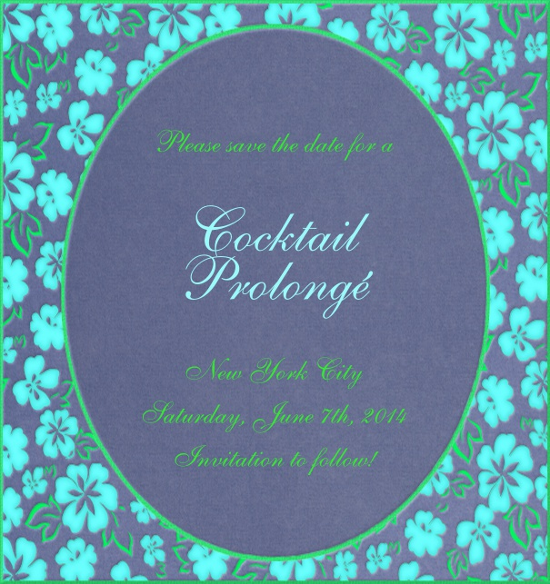 High Blue Spring Themed Seasonal Engagement Save the Date Card with Flower Border.