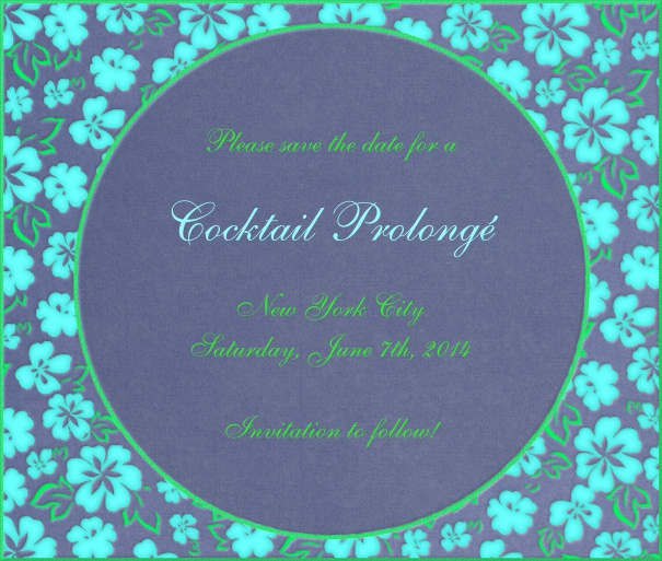 Blue Spring Themed Seasonal Engagement Save the Date Card with Flower Border.