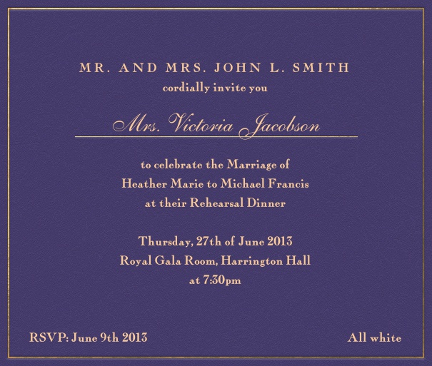 Purple, formal Wedding Invitation card with gold text.