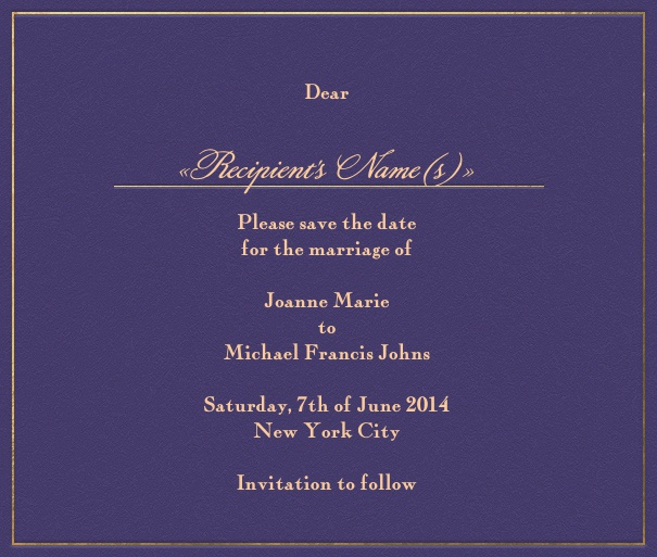 Purple online Wedding Save the Date Card with gold Border.