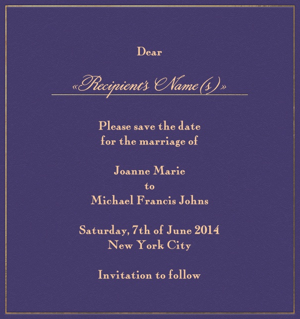 Purple online Wedding Save the Date high format Card with gold Border.