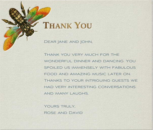 Tan Thank You Card with Dragonfly.
