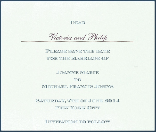 Classic Online Wedding Save the Date Card with blue Border.