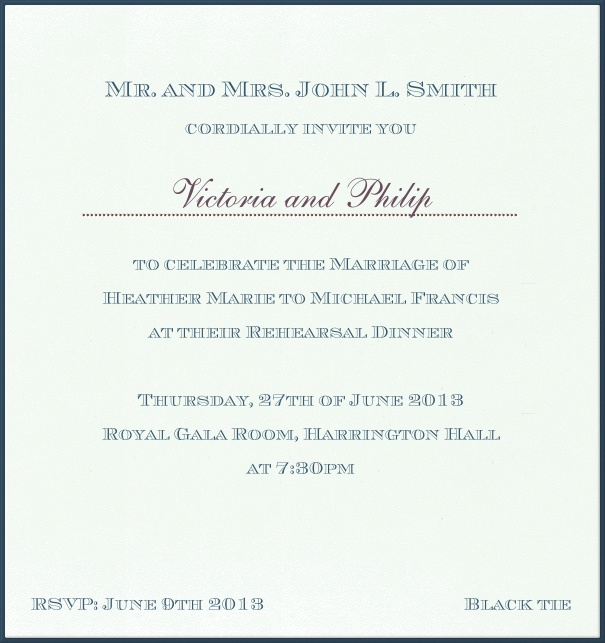 White, classic Wedding Invitation with blue border.